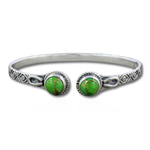 Green Copper Turquoise Bangle 925 Sterling Jewelry Bangle