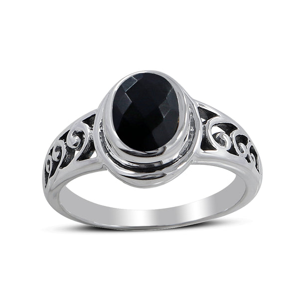Black Onyx Gemstone with Sterling Silver Ring