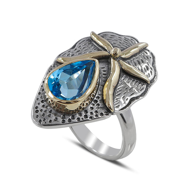 Blue Topaz Gemstone Two Tone Sterling Silver Ring
