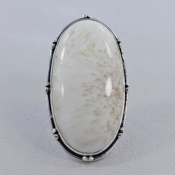 Large Scolecite Sterling Silver Ring