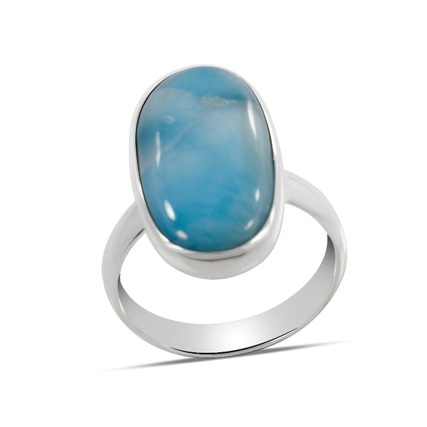 Natural Larimar Sterling Silver Plain Ring