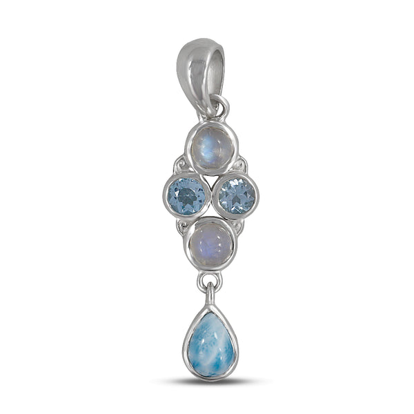 Rainbow Moonstone, Blue Topaz Sterling Silver Pendant