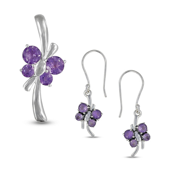 Amethyst Butterfly Pendant Set in Solid 925 Silver Jewelry