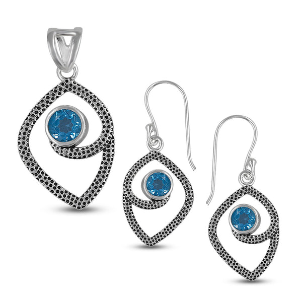 Textured Or 925 Sterling Silver Blue Topaz Pendant Set