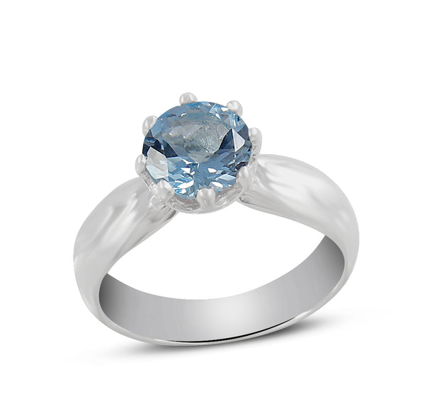 Natural Blue Topaz 925 Sterling Silver Ring