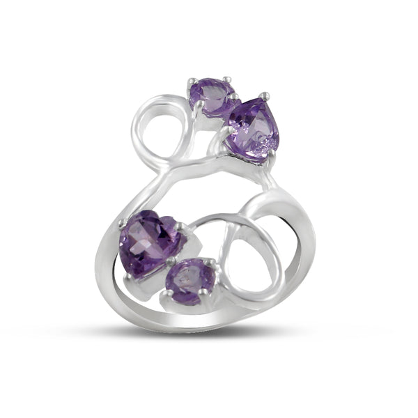Natural Amethyst Designer Ring, February Birthstone, 925 Sterling Silver