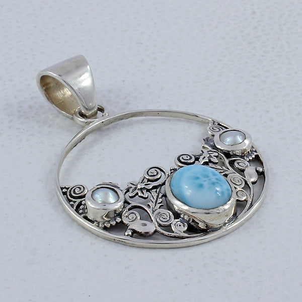 Larimar and Pearl Sterling Silver Designer Pendant