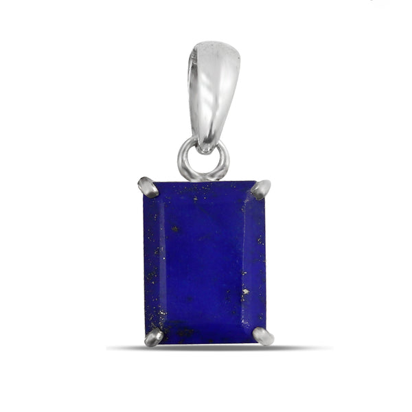 Blue Lapis Lazuli Rectangle Pendant 925 Sterling Silver Jewelry