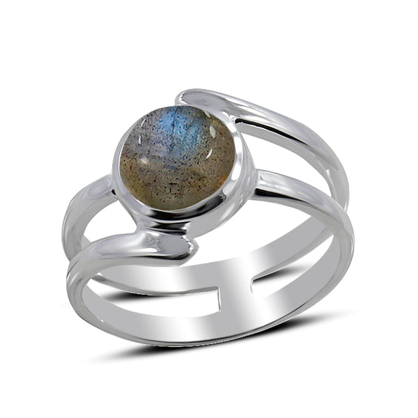 Blue Rainbow Moonstone Silver Ring