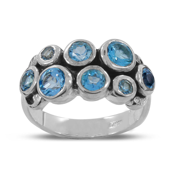 925 Silver Natural Blue Topaz Cluster Ring