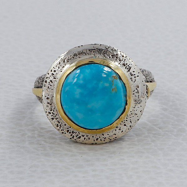 Men's Designer Mexican Turquoise 925 Sterling Silver Ring