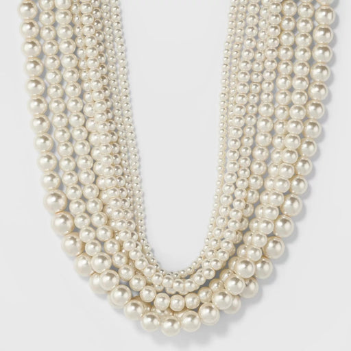 A New Day Short Faux Pearl Multi Row Necklace White - Best By