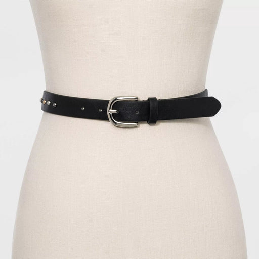A New Day Women's Peral and Rivet Embellished Belt Black Medium - Best By