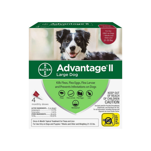 Bayer Advantage II Flea & Tick Spot Treatment for Dogs 21-55 lbs 4ct - Best By