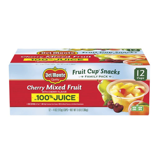 Del Monte Fruit Cup Snacks Cherry Mixed Fruit 4oz 12ct - Best By