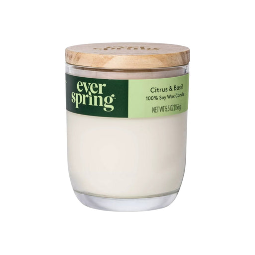 Everspring Citrus & Basil 100% Soy Wax Candle 5.5oz - Best By