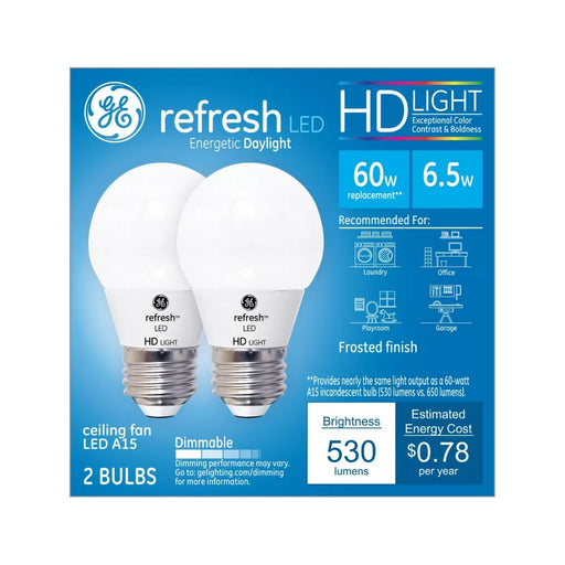 General Electric Refresh Daylight HD 60W Equivalent A15 Ceiling Fan LED Bulb Frost 2pk - Best By