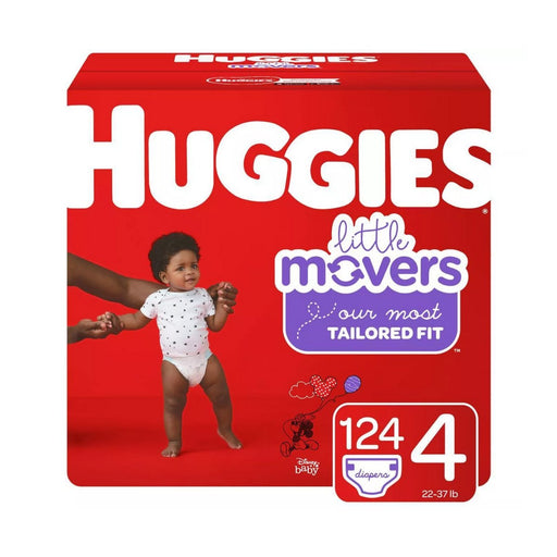 Huggies Little Movers Diapers Huge Pack Size 4 124ct - Best By
