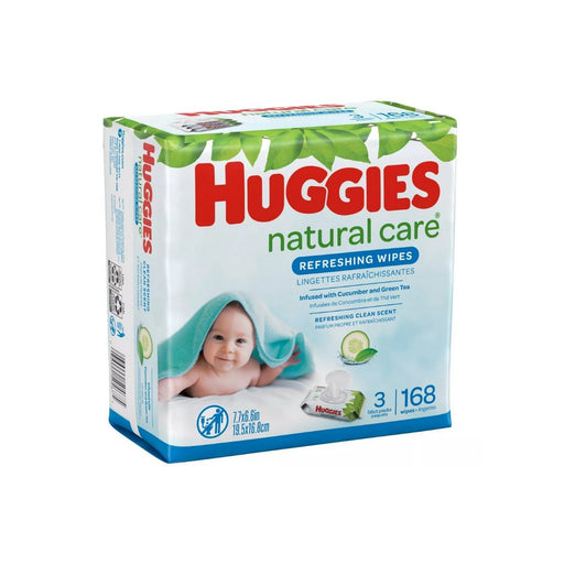 Huggies Natural Care Baby Wipes Cucumber & Green Tea Scented Flip-Top Packs 3pk/168ct - Best By