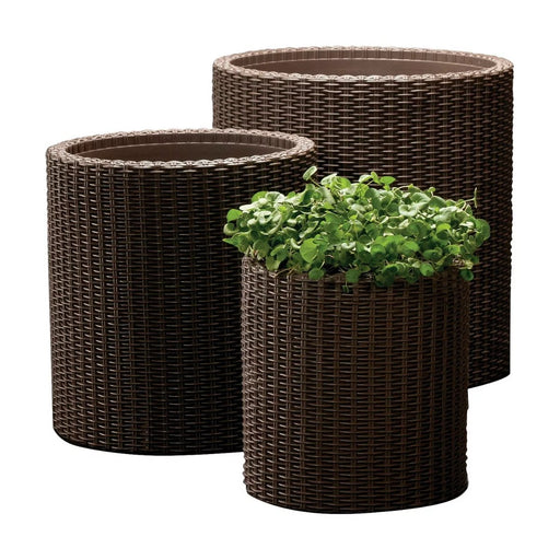 Keter Cylinder Rattan Planter Set Of 3 Brown - Best By