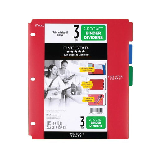 Mead Five Star 2 Pocket Binder Dividers Red/Blue/Green 3 Tabs - Best By