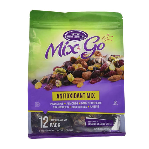 Mix & Go Antioxidant Nuts Mix 24oz (12 packs of 2oz bags) - Best By