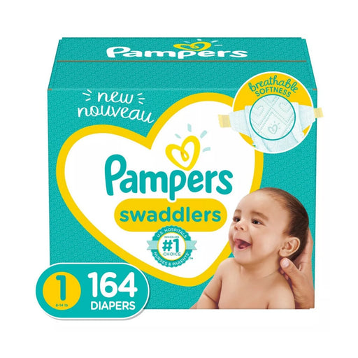 Pampers Swaddlers Disposable Diapers Enormous Pack Size 1 164ct - Best By