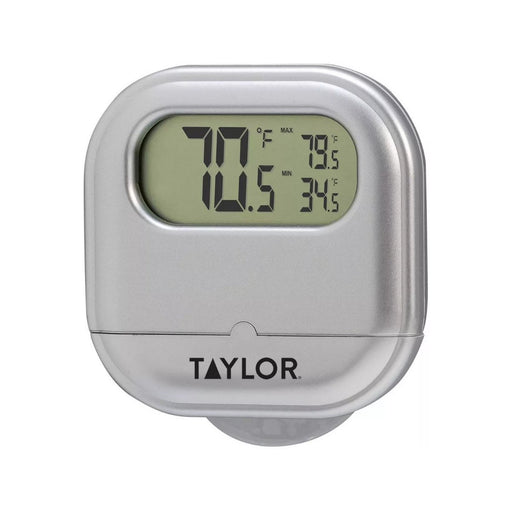 Taylor Digital Indoor Outdoor Thermometer With Suction Cup Silver - Best By