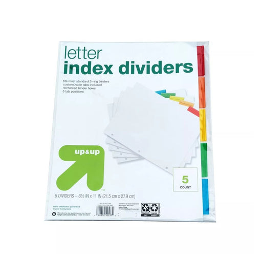 Up&Up 5ct Letter Index Dividers - Best By
