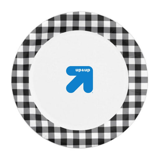 Up&Up Black and White Heavy Duty Paper Plates 10inch 34ct - Best By