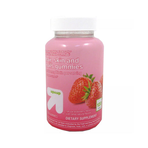 Up&Up Hair, Skin, & Nail Supplement Gummies Strawberry - Best By