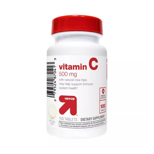Up&Up Vitamin C 500mg with Rose Dietary Supplement Tablets 100ct - Best By