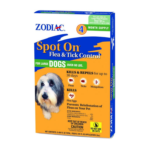 Zodiac Spot On Flea & Tick Control for Medium Dogs Over 60lbs 4ct - Best By