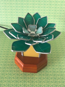 **SOLD**Green Succulent Stained Glass Lamp