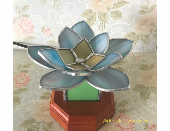 Blue Lotus Stained Glass Lamp