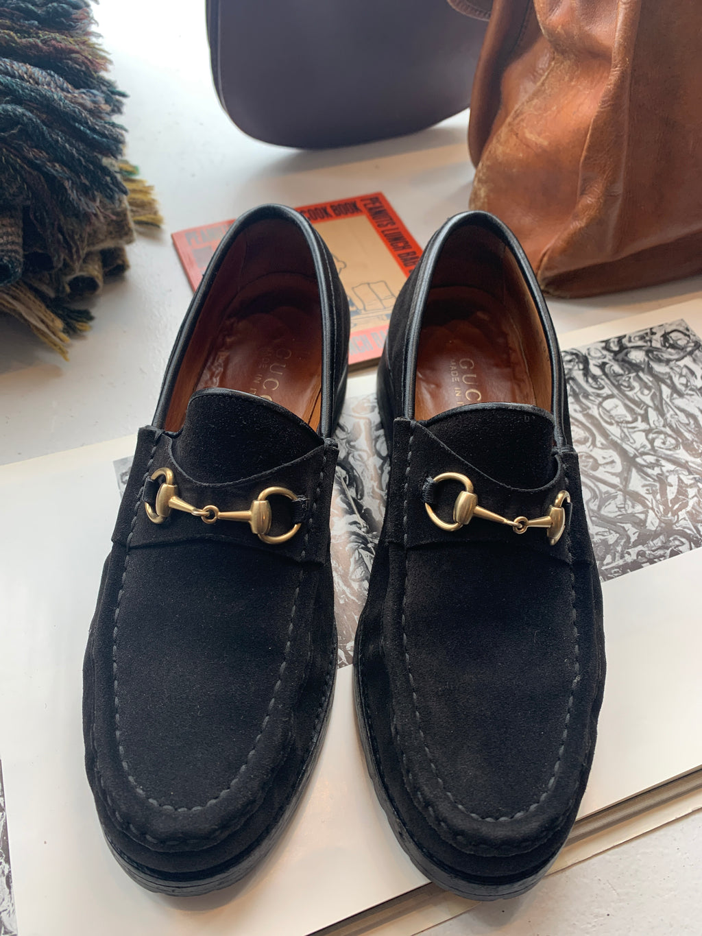 Size 7 1/2 Black Suede Gucci Loafers
