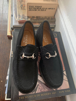 Size 6 Black Suede Gucci Loafers