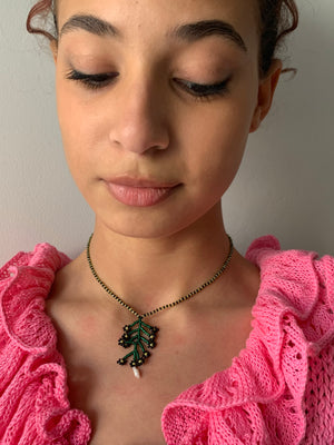 Yona Kohen Flower Necklace with Pearl