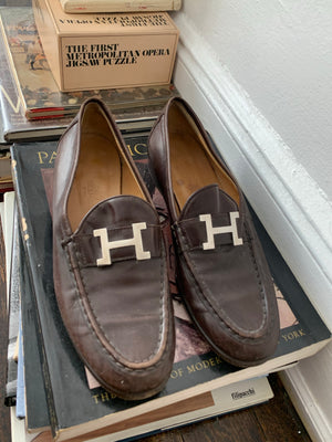 Size 38 1/2 Brown Leather Hermès Loafers