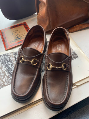 Size 7 1/2 Brown Leather Gucci Loafers