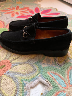 Size 10 Black Suede Gucci Loafers