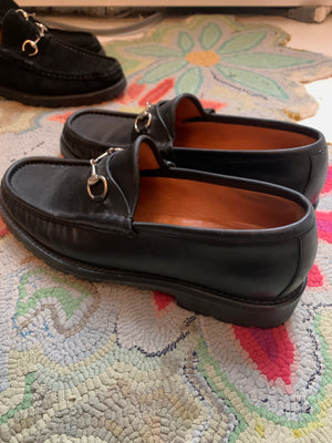 Size 9 1/2 Black Leather Gucci Loafers