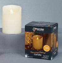 Battery Operated Wax Candle With Dancing Flame in Ivory - 13cm