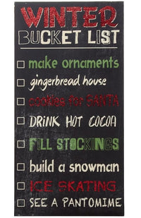 Wooden Christmas Bucket List Wall Decoration - 40 x 20cm