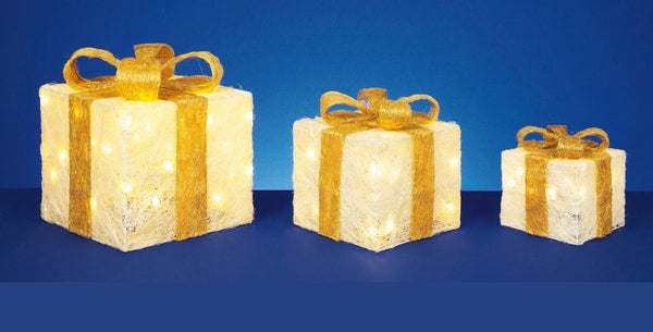 Set of 3 Light Up Light up Gift Boxes / Presents with Gold Bows - Cream Parcles