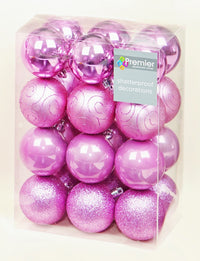 24 Pack Multi Finish Baubles - Christmas Tree Decorations  - Glitter & Shiny
