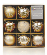 Shatterproof Mixed 9 Pack of Chrismas Baubles - Champagne Gold - Various Designs