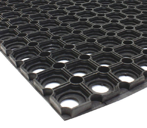 JVL Rondo Rubber Ring Heavy Duty Outdoor Contract Door Mat - 40 x 60 cm - Black