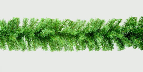 Plain Green Christmas Garland Decoration - 270cm (9ft) x 25cm