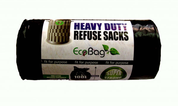 100 Litre Eco Bag Heavy Duty Refuse Garden Rubbish Sacks Black